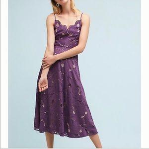 Anthropologie Purple Scalloped Lace Dress Sz 8